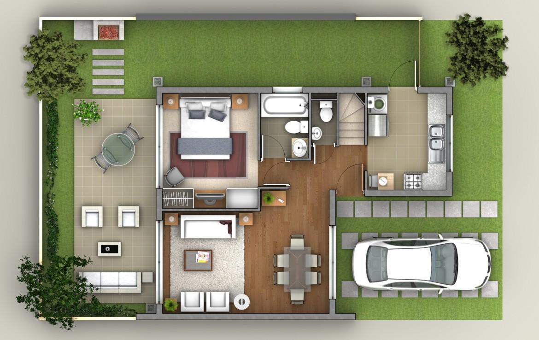Planta piso-1 casa B, en baja