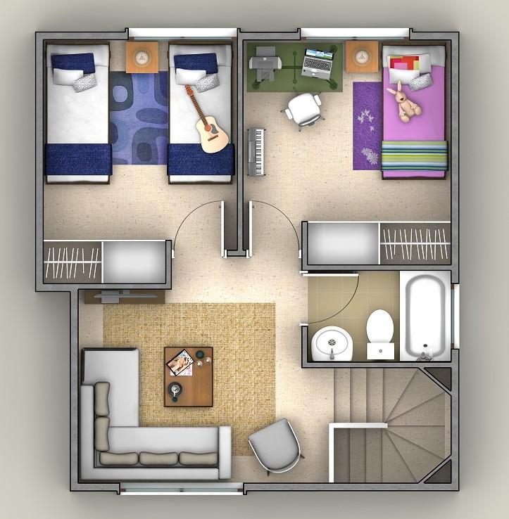 Planta piso-2 casa B, en baja